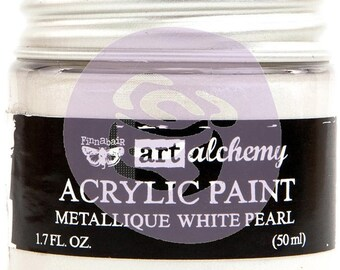 Finnabair Art Alchemy Metallique Prima Metallic Acrylic Paint 1.7 oz  WHITE PEARL #964436