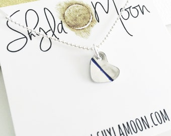 Tiny Heart Stamped Pendant, Thin Blue Line Heart Necklace, LEO