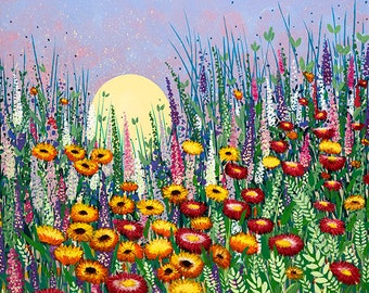 ZINNIA WILDFLOWERS 'Original' wildflower meadow acrylic painting on stretched canvas