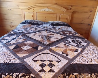 Brown Sampler Twin/Wallhanging/Lap Quilt -FREE SHIPPING!