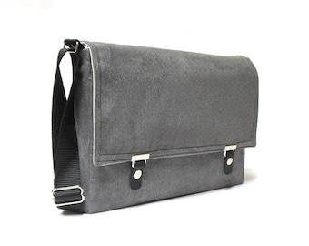 """11"""" / 13"""" MacBook Air messenger bag - gray herringbone"""