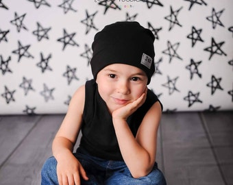 Black Sweater knit slouch beanie