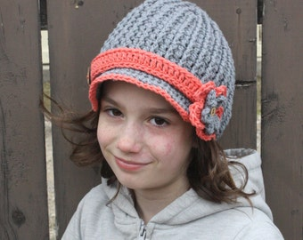 Ribbed Newsboy Hat pdf PATTERN, newborn to adult sizes, with flower, to crochet with flower or buttons, photo prop, digital download