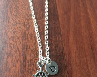KIDS SIZE - Anchor Wheel initial necklace, nautical jewelry, anchor necklace, navy jewelry, gift for navy wife, silver necklace, navy