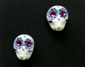 SugarSkull Earrings - Day of Dead, calaveras, birthday, mardi gras, girlfriend, sister, gift