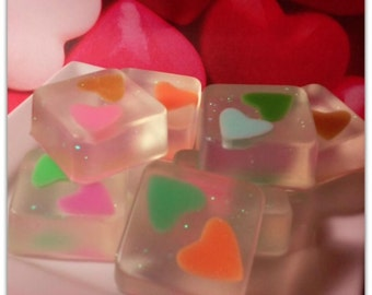 Hearts Ice Cubes Soap Set of 7