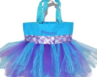Princess Tutu Bag, Dance Bag, Snowflake Ribbon Free Monogram Name Embroidered on the Bag. Personalized Girl, Ballet Bag, Dance Class Bag