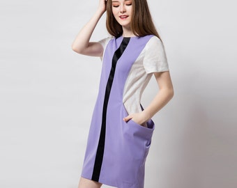 Purple dress/ Modern dress/ Colorblock dress/ Contemporary/ Structured/ Custom made dress/ Geometric dress/ Petite/ Plus size