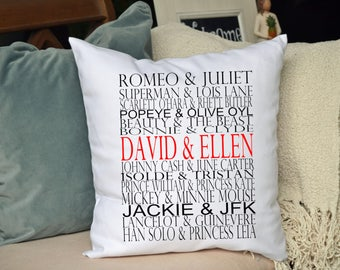 Personalized Famous couples pillow, housewarming gift, anniversary gift, Bridal shower gift, wedding pillow, valentines gift idea  16 x 16