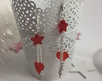 Red charms and Silver earrings