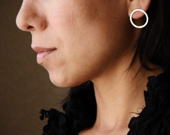 "Round silver post earrings of hammered texture perfect everyday go-to pair - ""Simple Classic Circle Earrings"""