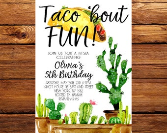 Taco bout fun invite,Fiesta Birthday Invite Invitation 1st First Kids Boys Girls Gender Neutral Taco Guitar Cactus,Cactus Birthday Party 270