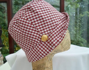 Brown gingham cotton hat