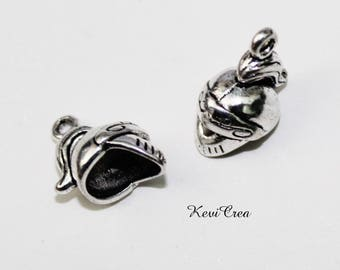 5 x charms 3D silver metal medieval knight helmet charms