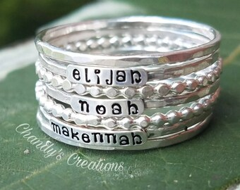 2mm-Sterling-Silver-Stackable-Name-Rings-Lowercase-Font-Mother's-Ring-Push-Present-Stacking-Band-Customized-Thumb-Pinky-Hammered-Spacers-Set