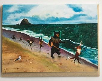 Beach Day Card / Canon Beach / Oregon Coast Card / Summer baby shower / Black Bear / Fox / Banjo / Woodland animals / Card