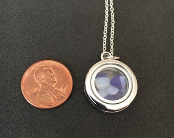 Blue/white Davenport sea glass locket