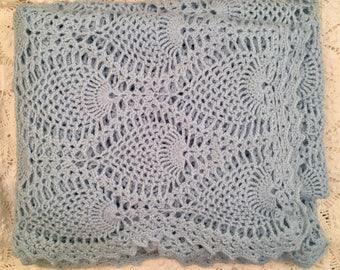 Baby Blue Crochet Throw - Super Soft - Pineapple Pattern - Handmade Blanket - Afghan Throw
