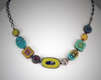 Chartreuse, Turquoise, and Yellow Czech Glass Bead Necklace