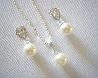 Bridal Elegant Silver Swarovski Pearl Cubic zirconia Earrings Necklace Set White Ivory Blush Pink Grey Vintage Wedding Bridesmaids