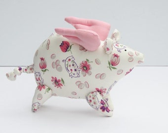 Flying pig stuffed animal toy softie plush pig When pigs fly toy child friendly stuffed toy gift  idea for birthday get well and cheer up