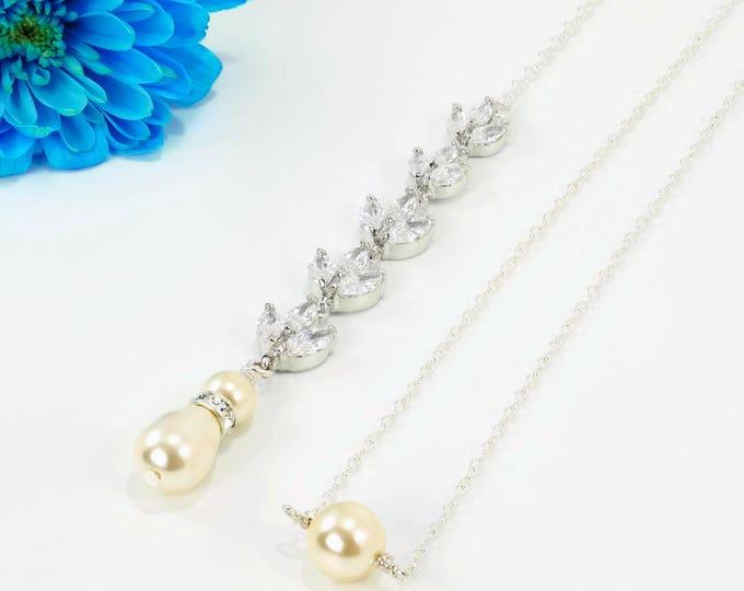 Backdrop necklace, crystal, leaf cubic zirconia, Swarovski pearl, bridal necklace, pendant drop, blush  cream, low back, brides,