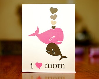 I Heart Mom - Pink & Grey Whales New Baby Card - 100% Recycled Paper