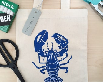 Blue Lobster Mini Tote Bag. Screen Printed Bag. Lobster Lunch Bag. Small Shopper Bag. Cute Lobster. Seaside Bag. Lunch Bag.