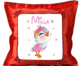 Red pillow bird personalized with name