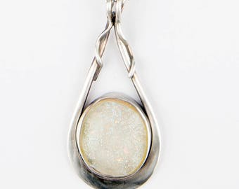 Moonglass Pendant, OOAK Sterling Silver and Opal Fused Glass Necklace pendant