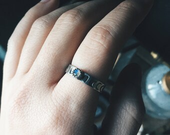 Moonstone Moon Phases - Sterling Silver Stacking Ring