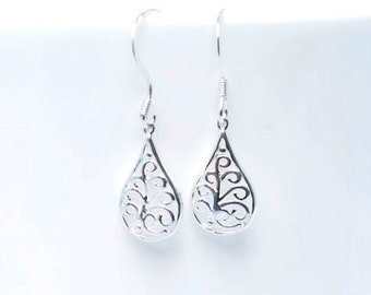 Sterling silver Filigree earrings - silver drop earrings - gift for her - UK Made