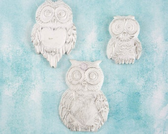 Prima Shabby Chic Treasures Collection Ingvild Bolme Resin Large Owls Embellishments Owl
