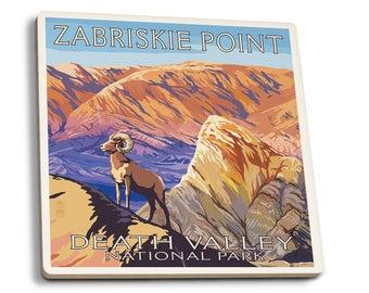 Death Valley CA Zabriskie Point LP Artwork (Set of 4 Ceramic Coasters)