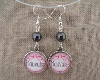 SALE earrings hematite bad cabochon 18mm pink glass beads