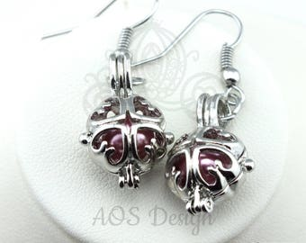 Pick A Pearl Cage Silver Plated Heart Square Pink Pearl Bead Earrings Scrollwork