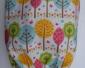 Plastic Grocery Bag Holder Colorful Whimiscal Trees in Blue Green Yellow and Pink