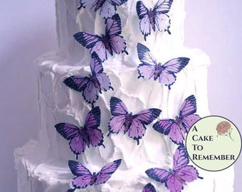 15 large edible butterflies in purple ombre for cake decorating. Wafer paper butterflies wedding cake toppers, cupcake decorations