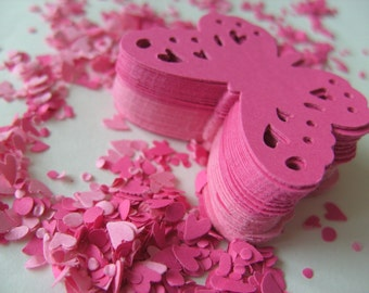 100,  PINK,Paper butterflies,  confetti, scrap booking, paper craft, card making, tags , by DoodleDee2