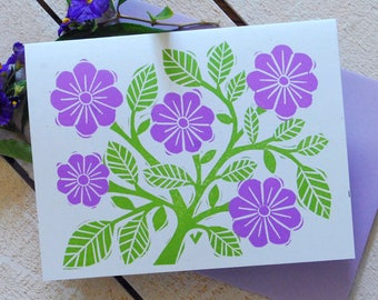 Purple Floral Letterpress Note Cards