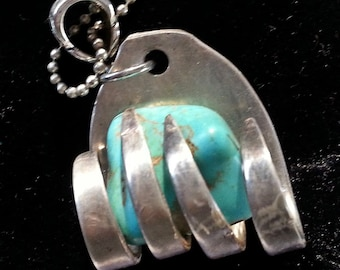Turquoise fork necklace, Upcycled fork, Vintage silverware jewelry pendant, free shipping and free gift box