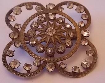 Vintage Georgian Victorian Antique  Paste Brooch Pin -  UNUSUAL