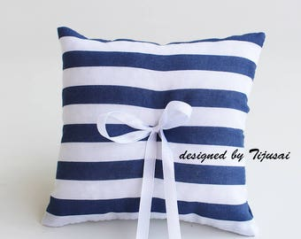 Marine stripy Wedding Ring bearer pillow -ring bearer, ring cushion, ready to ship
