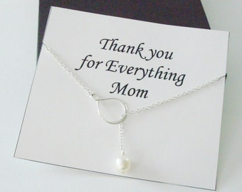 Eternity Infinity with White Pearl Silver Lariat Necklace ~~Personalized Gift Card for Mom, Mother in Law, Mother of Groom, or Step Mom
