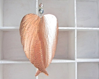 Rose Gold Copper Christmas Ornament, Embossed Metal Angel Wings Decor