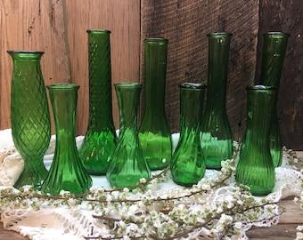 Green Glass Vase Set/Nine Piece/Assorted/Wedding/Spring/Christmas