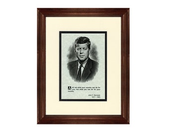 Print and Quotation of John F. Kennedy with Mat and Frame