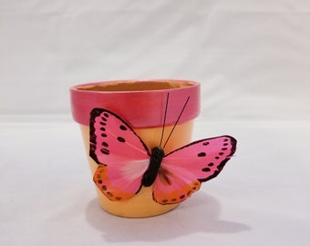 Pink Silked Butterfly Terra Cotta Pot With Orange And Pink