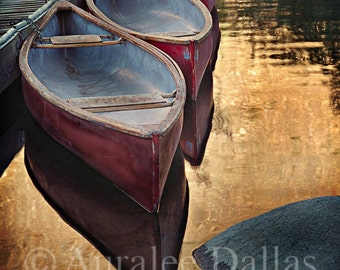 Two Canoes Color Photograph Golden Water Reflections