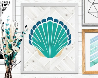 Sea Shells Print, Beach prints, Coastal Poster, Shells, Printable Art, Nursery Print, Instant Download, Wall Decor